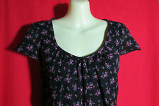 Suzannegrae Black/Pink Floral Print Cap Sleeves Ladies Dress Size10/12 *REDUCED*
