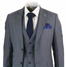 Mens 3 Piece Tailored Fit Prince Of Wales Check Grey Blue Tweed Suit Vintage