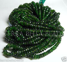 """7"""" strand rare CHROME DIOPSIDE faceted gemstone rondelle beads 3mm - 4mm green"""