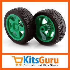 (2pcs) Imported 65mm Robot Smart Car Wheel Green Colour KG388