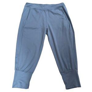 Sweaty Betty Light Blue Harem Cropped Joggers Size L Yoga Leggings Pockets