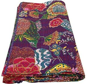 Indian Cotton Kantha Quilt King Size Bedspread Bedding Handmade Coverlet & Throw