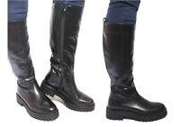 Stivali alti da donna GEOX IRIDEA D04HR ankle boot motociclista stivaletti pelle