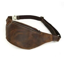 Mens Brown Vintage Leather Small Belt Bag Waist Belt Sports Fanny Pack