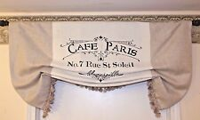 """Custom Made Large French Country Script """"CAFE PARIS"""" Linen and Burlap Valance"""