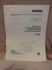WACKER TRASH PUMP PARTS MANUAL FOR PT3A