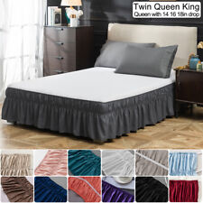 14' 16' 18' Drop Bed Skirt Dust Ruffle Wrap Around Bed Twin Full Queen King