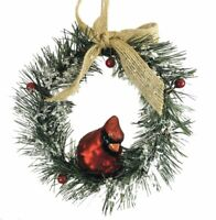 Red Cardinal Sullivans Christmas Ornament Glass Metal Rift Glittery Bird New