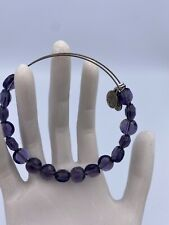 Alex and Ani Amethyst Luxe Purple Beads Expandable Bracelet Silver - Gorgeous!