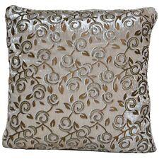 Cream Velvet Cushion Covers Decorative Golden Sparkle Print Flower Leaf 40cm