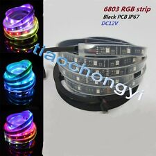 5M 5050 RGB Black PCB LED Strip Light  6803 IC Magic Dream Color Waterproof IP67