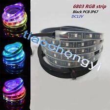 5M 5050 RGB Black PCB LED Strip Light  6803 IC Magic Dream Color Waterproof IP67
