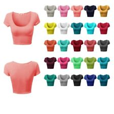 FashionOutfit Basic Scoop Neck Tight Fit Cap Sleeves Crop Tops (3PACK AVAILABLE)