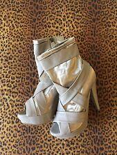 Gorgeous BURBERRY PRORSUM Runway Platform Shoes Beige Ankle Boot Sz 8.5 NWOB