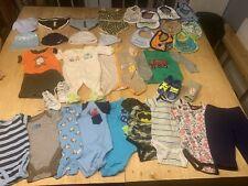 Lot of Baby Boy Clothes (Size Newborn, 0-3 Months), Hats, Bibs, Etc...