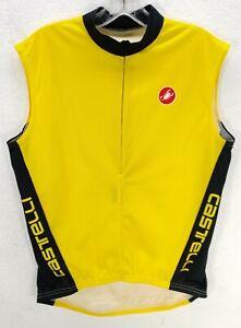 Castelli Men's SIZE M Yellow CYCLING JERSEY Sleeveless Back pockets 1/2 Zip