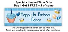 1st Baby or Boy Birthday Party Banner Sign, Cupcakes, Busy Bees, Blue Cup Cake.