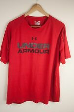 Men's Large Under Armour HeatGear Shirt Red Athletic Ships Today Oh320