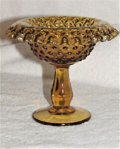 VINTAGE FENTON GLASS COLONIAL AMBER ROLLED RIM CANDY DISH 1960's