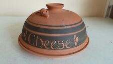 Ancienne terre cuite fromage Plat Dôme Plateau De Stockage des conteneurs souris decor C Roi pot