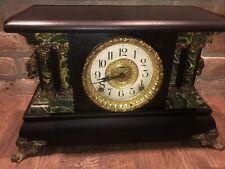 Vintage Gorgeous Black / Green Wood Ingraham Antique Mantle / Mantel Clock