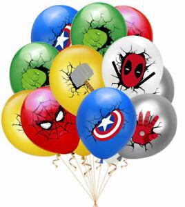 "12 Kids Marvel Avengers Spiderman Hulk Superhero Birthday Party 12"" Balloon Set"