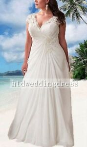 Custom Plus Size Lace Chiffon V-neck Bridal Gown Wedding Dress 16-18-20-22-24++