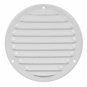 White Metal Round Air Vent Grille 125mm / 164mm with Fly Screen Flat Duct Cover