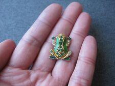 Vintage cute rhinestones green enamel golden metal frog perfumer diffuser pin