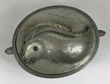 Antique Chinese Pewter Carp Catfish Food Warmer w/Insert Qing 19th CenturyTureen