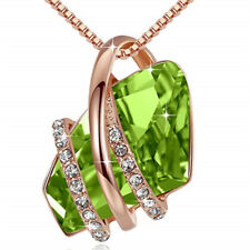 Crystal White Zircon Necklace Jewelry Ladies Fashion Rose Gold Plated Green