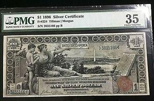 1896 $1 Educational Silver Certificate Fr#224 PMG CHOICE VF 35 TILLMAN / MORGAN