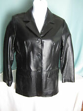 Excelled Leather Jacket Womans Large Long Car Coat Style Buttons Lined EPOC