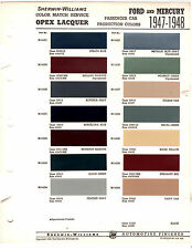 1947 1948 FORD & MERCURY 47 48 COLORS PAINT CHIPS 4748 SHERWIN WILLIAMS