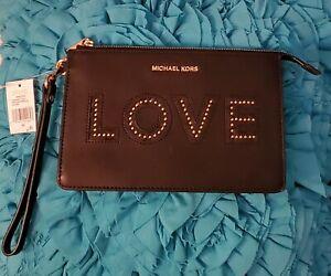NWT MICHAEL KORS LOVE Black Leather Medium Gusset Wristlet!!