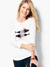 NEW $69 TALBOTS White Striped Fish Novelty Nautical Sweater Sz PXL ( 18P,20P )