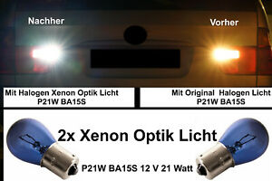 2x Backing Lights P21W BA15S Lamp Bulb Xenon Look White Fits E90 Soda
