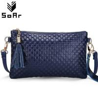 Genuine Leather Luxury Handbags Women Bags Designer Brand Clutch 2019 Tassel Fem