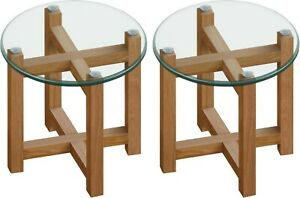 Pair of Solid Oak and Glass Coffee Side Tables 50cm Debenhams. Discontinued Unit