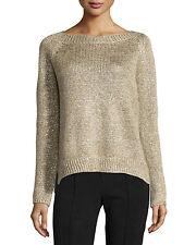 NWT VINCE Gold Metallic Raglan Sleeve Sweater Linen Blend Top Womens Sz L Large