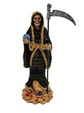 "13"" Black Santa Muerte Statue Holy Death Grim Reaper Skull Negra Owl World"