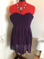TFNC London Purple chiffon strapless Skater dress, size M