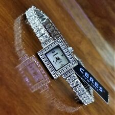 New CERES Silver Swarovski Crystal Pave Tennis Bracelet Watch MOP Dial