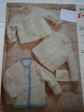 Vintage Ninepence Emu 8178 Baby Double Knit Pattern Book Sweater Boy Girl Button