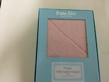 New Bubba Blue Vintage Knit Cot Baby Blanket in Gift Box Pink Warm