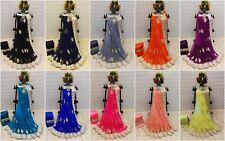 Indian Saree Gray Designer Bollywood Sari Party Wear With Blouse Pakistani BS
