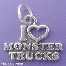 925 Sterling Silver I LOVE MONSTER TRUCKS Charm Pendant - t01186