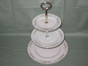 Mayfair Alpine Bone China 3-Tier Hostess Cake Plate Stand