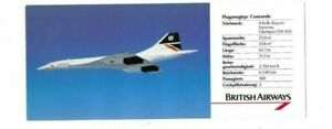British Airways German office large airline issue Concorde seat plan back card