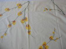 Vintage 1970's Fieldcrest Twin Size Percale Flat Sheet Yellow Floral Print